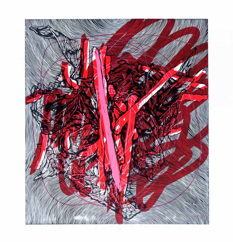 Broken Tulips | Linocut | 2018 | Kristi Neider | Printmaking
