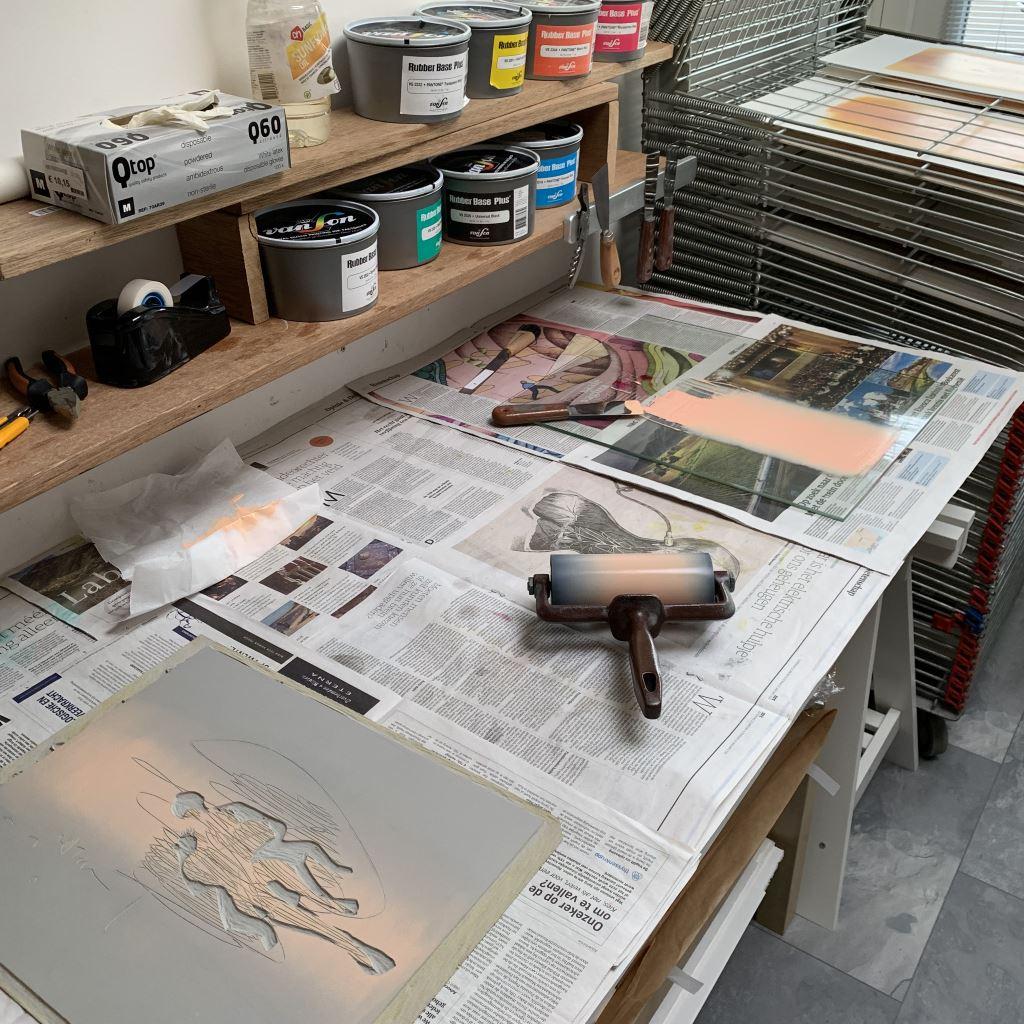 Kristi Neider | Studio | Linocut printmaking